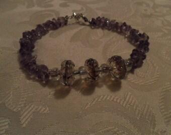 Healing Stone Bracelet-  Semi Precious Amethyst Chips with Purple Glass Beads - HEAL-05