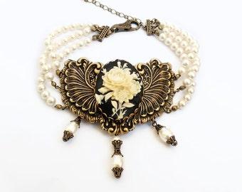 Three Strand pearl Choker Victorian Jewelry Cameo Choker Necklace Black Rose Cameo White Pearls Brass gothic jewelry statement bridal choker