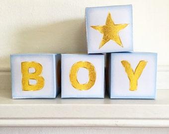 Name Blocks, Baby boy Nursery letter blocks, Printable blue name blocks, blue Nursery Decor, Baby boy Nursery art, instant download.