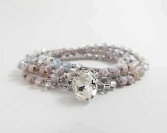 """Size Small: Pastel Beaded Crochet 5x Wrap Bracelet or Long Beaded Necklace """"Tranquility""""  - Item 1543"""