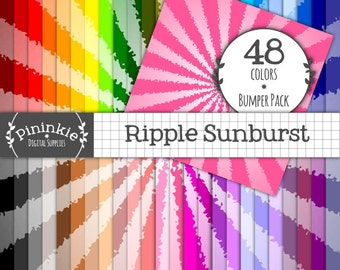 48x Ripple Sunburst Digital Paper, Sunray Digital Scrapbooking Paper, Instant Download, Commercial Use,  Printable Paper, Digit