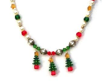 Christmas Tree Necklace, Swarovski Holiday Jewelry, Green & Red, Swarovski Star, Festive Holiday Necklace, Crystal Jewelry, Christmas Bride