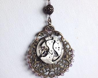 Watch movement brass steakpunk necklace