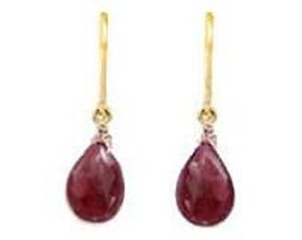 14 Karat Gold and Ruby Earrings