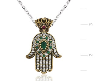 Authentic Emerald Necklace Silver Fatima's Hand - IJ1-1302