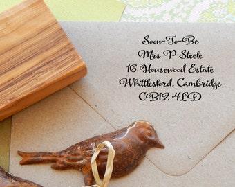 Soon-To-Be Handwritten Font Return Address Olive Wood Stamp