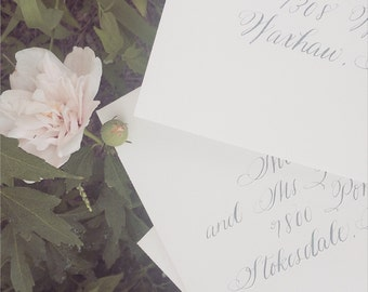 Wedding Calligraphy Envelope Addressing. Hand lettered envelope. Professional Calligrapher. Scripted Font Calligraphy Style