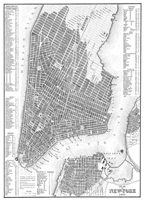 new york city map 1844 new york city manhattan street map