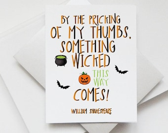 Handmade Halloween Card Literary Quote Shakespeare Something Wicked This  Way Comes