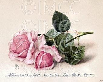 Instant Digital Download Scan Vintage Christmas Postcard Shabby Pink Chic Roses ECS
