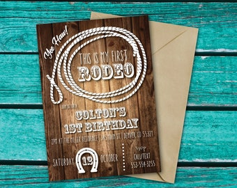 Cowboy Birthday Invitation | My First Rodeo | Western Birthday | 1st Birthday Invite | Rustic Birthday | Saddle Up | Yee Haw
