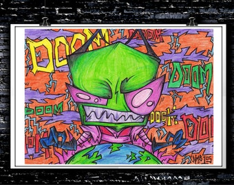 Doom - A4 Signed Art Print (Inspired by Invader Zim)