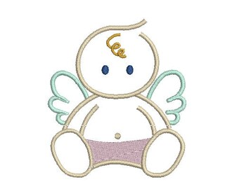 Baby angel machine embroidery design Instant Download