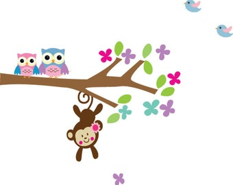 Childrens Owls Wall Decal Reusable Wall Decal H100