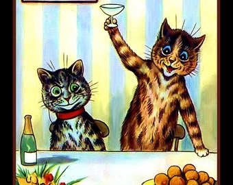 Cat Toasting at a Party  Refrigerator Magnet
