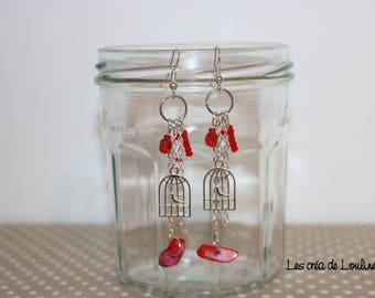 Red bird cage earrings