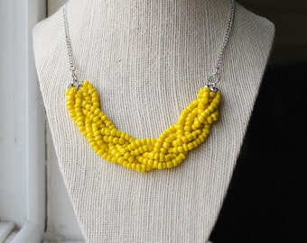 Yellow Statement Necklace, Yellow Braided Bead Necklace, Yellow Multistrand Necklace