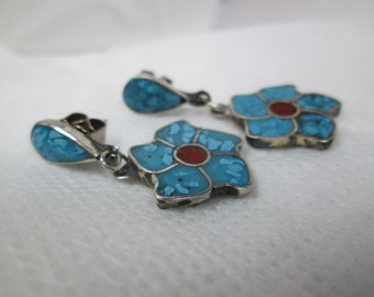 Silver Southwest Earrings Turquoise Flower Vintage