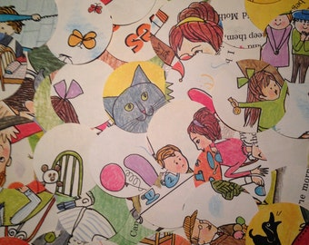 """100 Large 2"""" Die Cut Circles Children's Illustrations by Aliki for Paper Crafting"""