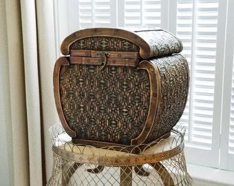 Large Vintage Chinese Lidded Basket