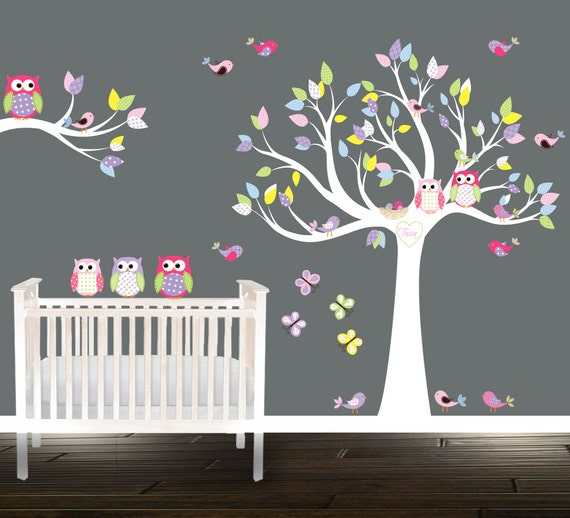Sticker arbre hibou mur arbre sticker p pini re arbre - Stickers branche d arbre ...