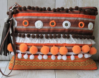 Pompom embellished clutch bag with Shisha Mirrors***SALE***