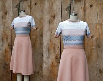 c. 1970s vintage knit dress + vintage 70s short sleeve dress