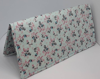 Pale Teal Calico Fabric Print Checkbook Cover Coupon Holder Clutch Purse Billfold Ready Made