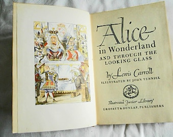 1946 ALICE in WONDERLAND Book by Lewis Carroll, Jr Library HCDJ Fantasy Nonsense Adventures Much Loved Story John Tenniel Color Illus