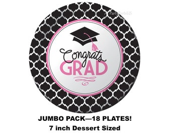 pink and black graduation plates, jumbo party package, congrats grad party decorations, class of 2018, 2018 graduates, graduating, nursing