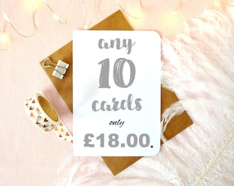 Special offer! Buy more, save more! Choose any 10 / ten cards, mix and & match multi pack discount, multi buy offer, card bundle deal, UK