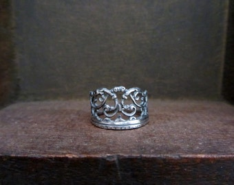 The crown ring, Sterling silver crown ring, oxidized