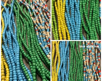 Opaque Bright Natural Cut Seed Beads, African Recycled Seed Beads, Seed Beads, African Beads, Natural cut, Seed bead strand