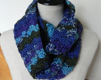 Crochet infinity scarf shades of blue, purple and dark green can be worn as crochet cowl scarf Ready to ship