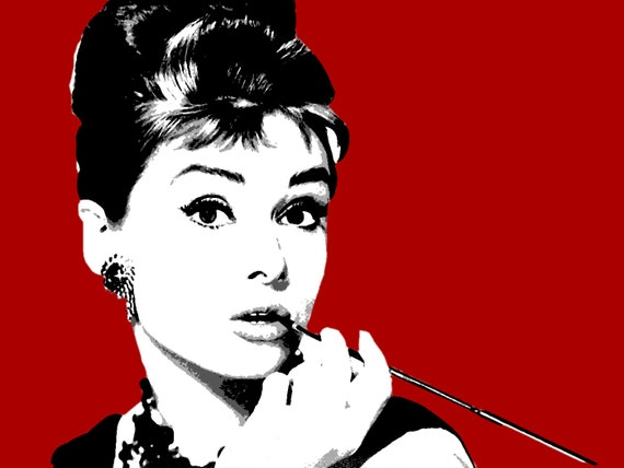 Modern painting Audrey Hepburn pop art style hand painted