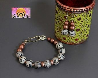 Dalmatian Stone Copper Bracelet-Jasper-Brass Toggle Clasp-Gemstone-Copper Tone Beads-Yoga Boho Bohemian Jewellery-Intention-Gift for her