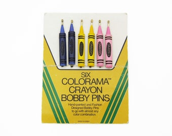 70's vintage bobby pins, set of 6 hand-painted multicolor crayons, purple/yellow/pink, new-old-stock, crayon bobby pins