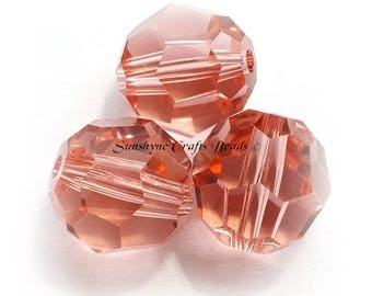 Swarovski Crystal Beads 5000 Series ROSE PEACH Faceted Round Bead - Sizes 6mm, 8mm & 10mm available