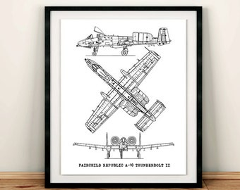 "A-10 Thunderbolt Blueprint, Aircraft Blueprint, Blueprint Decor, A-10 Jet Blue Print, Instant Download, Aviation Art, 8x10"", 11x14"""
