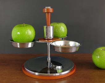 Rotating Glo-Hill Serving Tray - Glo Hill Gourmates Swivel Spinning Server, Bakelite Handled Rotating Lazy Server Server, Mid Century Modern