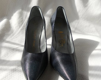 "Navy blue ""Sylvia Christie"" high heels, 50s, #27-3"