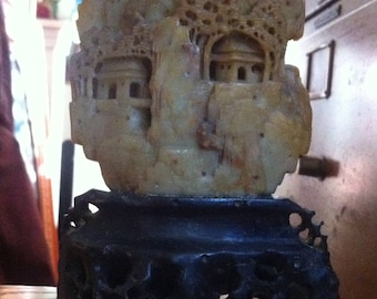 Vintage Pre-WWII Chinese Hand Carved Soap Stone Hillside Houses and Trees