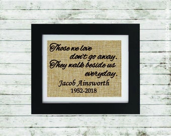Memorial Burlap Print - Those we love - In Memory of a Loved One - Personalized Memorial - Loss of a Loved One - In Memory of -