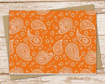 paisley note card set .  orange paisley notecards . bandana, western . blank note cards . folded stationery . stationary . set of 6