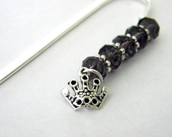 Crown Bookmark with Purple Glass Beads Shepherd Hook Steel Bookmark Silver Color