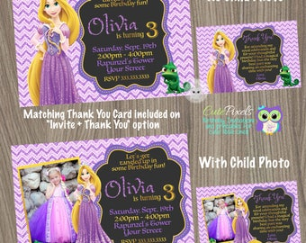 Rapunzel Invitation, Tangled Invitation, Tangled Birthday Invitation, Rapunzel Birthday, Princess Invitation, Disney Princess Invitation
