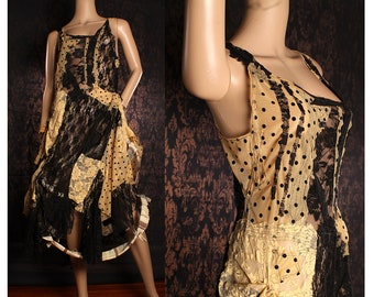 Black and Yellow Lace Dress, long tattered patchwork dress, wasteland swamp witch costume, boudoir sundress, gothic bride dress, fairy dress