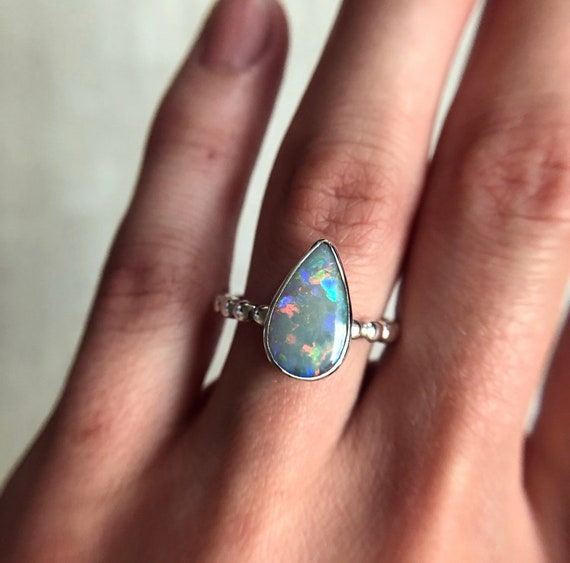 Sterling silver ring with Australian opal SZ 7