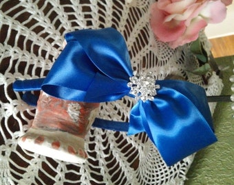 Girls Headband with Satin Bow in Royal Blue, Rhinestones, Flower Girl Hair BowHeadband, Sparkle Headband,Pageant Hair Bow Headband