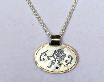 Rose Silhouette Pendant with Chain